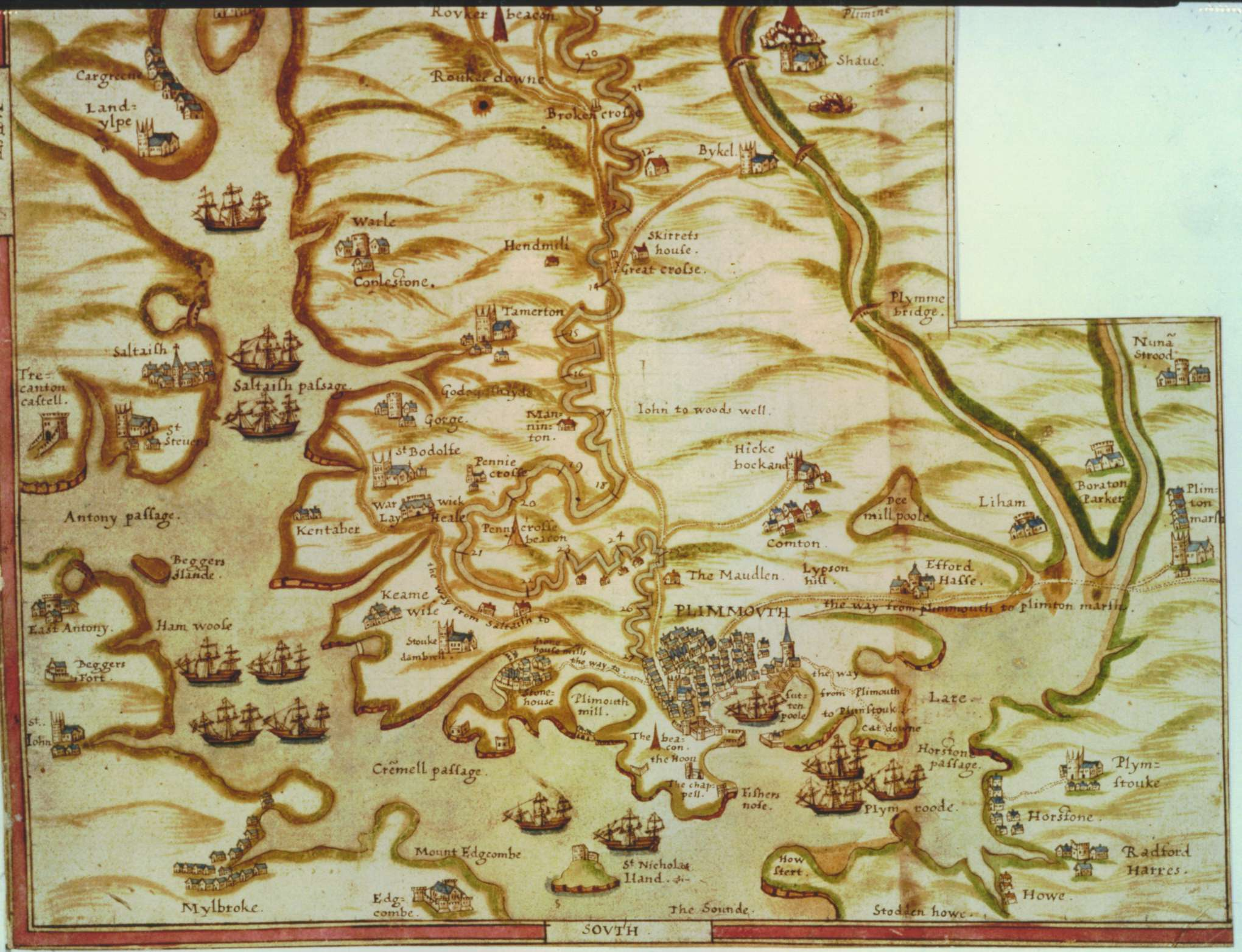 map of plymouth and area late 1500s