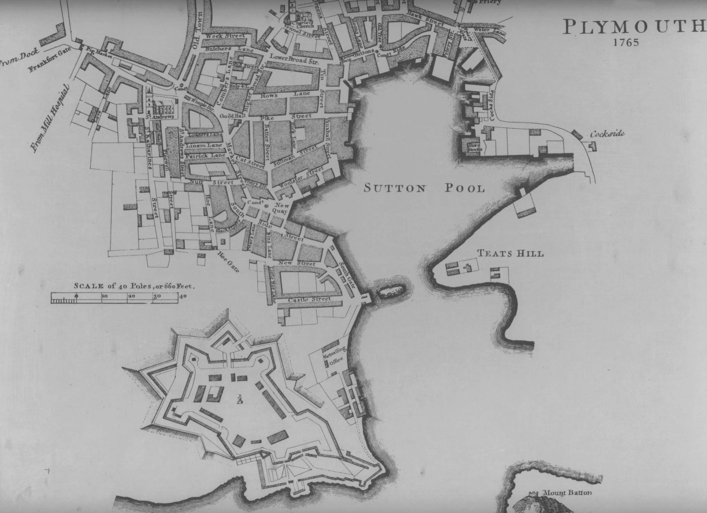 a plan of the town annd citadel of plymouth 1765 340k