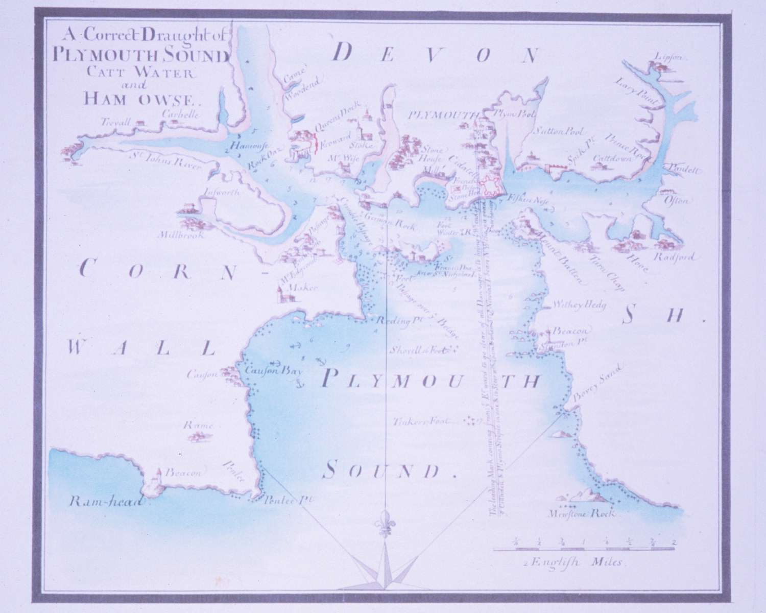 shows the many waterways and anchorages in plymouth sound and the hamoaze map of south west england